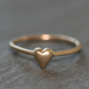 Tiny Puffy Heart Ring in 14K Gold