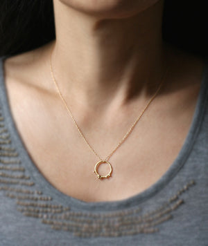 Small Beaded Circle Pendant in 18K Gold Plate