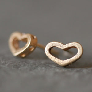 Open Heart Stud Earrings with Holes in 14k Gold earrings,hearts open-heart-stud-earrings-with-holes-in-14k-gold 14K Yellow Gold,14K White Gold