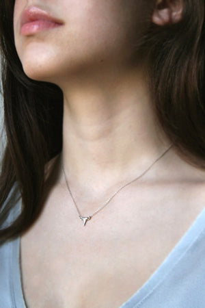 Baby Shark Tooth Necklace in Sterling Silver