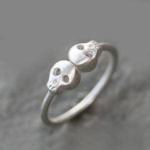 Double Baby Skull Ring in Sterling Silver rings,HALLOWEEN,skulls double-baby-skull-ring-in-sterling-silver 4,4.5,5,5.5,6,6.5,7,7.5,8,8.5,9