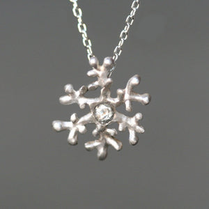 "Snowflake Necklace in Stering Silver and White Sapphire nature/organic,necklaces snowflake-necklace-in-stering-silver-and-white-sapphire 16"",17"",18"""