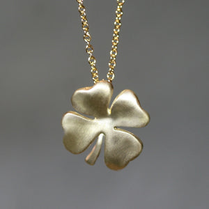 Four Leaf Clover Necklace in Brass with Gold Filled Chain