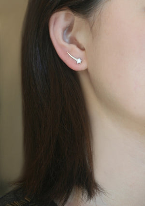 Shooting Star Ear Climbers in Sterling Silver