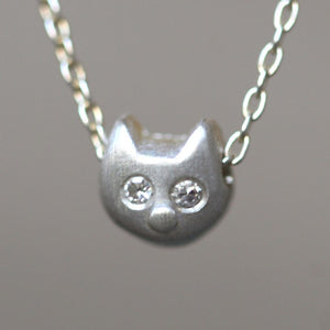 "Kitty Necklace in Sterling Silver with Diamonds necklaces,animal kitty-necklace-in-sterling-silver-with-diamonds 16"",17"",18"""