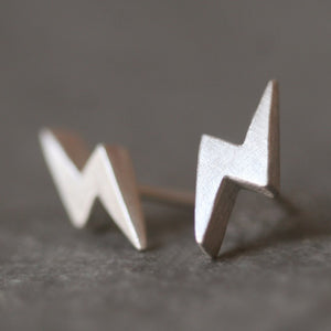 Lightning Bolt Stud Earrings in Sterling Silver earrings,symbols lightning-bolt-stud-earrings-in-sterling-silver Default Title