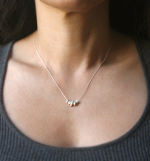 "5 Nugget Necklace in Sterling Silver necklaces,geometric 5-nugget-necklace-in-sterling-silver 16"",17"",18"""