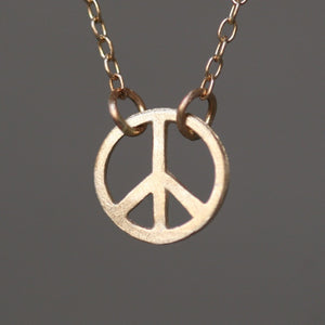 "Tiny Round Peace Sign Necklace in 14K Gold necklaces,symbols tiny-round-peace-sign-necklace-in-14k-gold 14K Yellow / 16"",14K White / 16"",14K Yellow / 17"",14K White / 17"",14K Yellow / 18"",14K White / 18"""