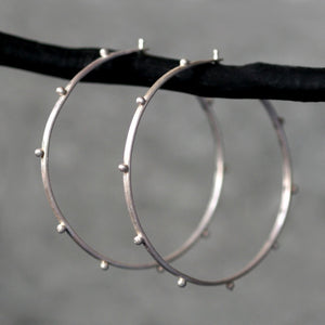 Large Beaded Hoop Earrings in Sterling Silver