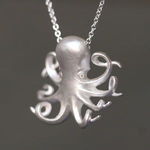 Long Baby Octopus Necklace in Sterling Silver with Diamonds