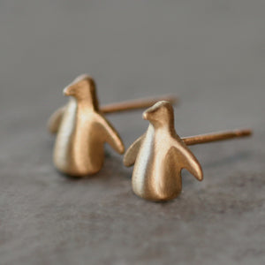 Penguin Stud Earrings 14k Yellow Gold