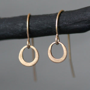 Tiny Ring Earrings in 14K Gold