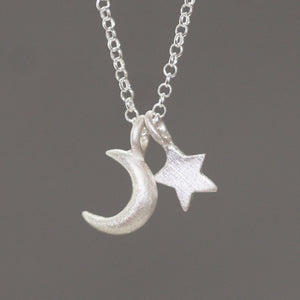 "Small Moon and Star Necklace in Sterling Silver necklaces,symbols small-moon-and-star-necklace-in-sterling-silver 16"",17"",18"""