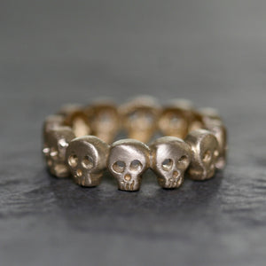 Baby Skull Band Ring in Brass