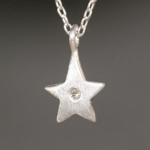 "Star Necklace in Sterling Silver with Diamond necklaces,symbols star-necklace-in-sterling-silver-with-diamond 16"",17"",18"""