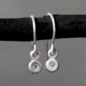 Tiny Button Drop Earrings in Sterling Silver with Diamonds