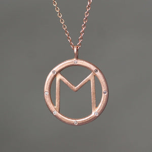8 Diamond Initial Necklace in 14K Gold