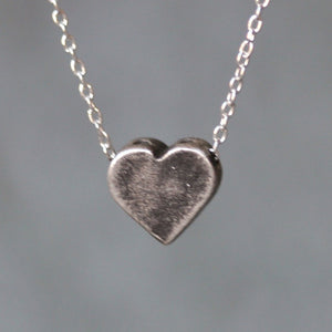 "Heart Necklace with Holes in  Sterling Silver SALE heart-necklace-with-holes-in-sterling-silver Brushed / 16"",Brushed / 17"",Brushed / 18"",Antiqued / 16"",Antiqued / 17"",Antiqued / 18"""