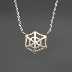 Web Necklace in Gold and Silver