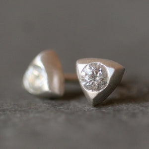Small Triangle Solitaire Studs in Sterling with Sapphire