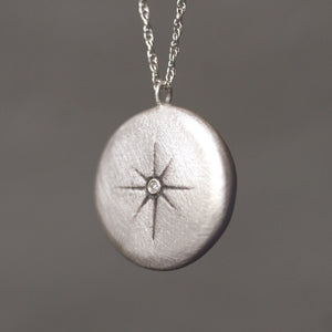 Small Starburst Necklace in Sterling Silver with Diamond