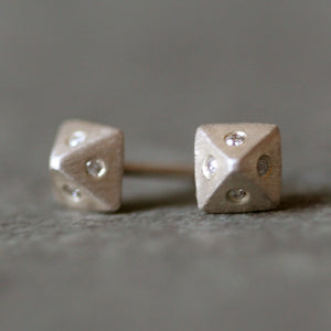 Low Pyramid Stud Earrings in Sterling Silver with 8 Diamonds nuts, bolts, studs,earrings,geometric low-pyramid-stud-earrings-in-sterling-silver-with-8-diamonds Default Title
