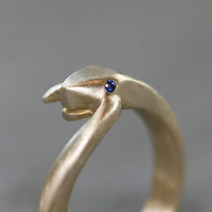 Large Snake Tail Ring in Brass with Gemstones