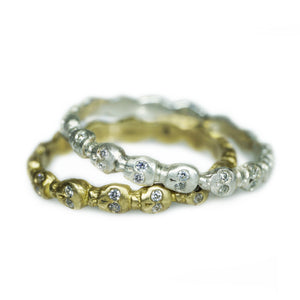 Mini Skull Eternity Band Ring in Brass with CZs