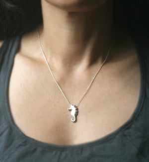 Seahorse Necklace in Sterling Silver with Diamond