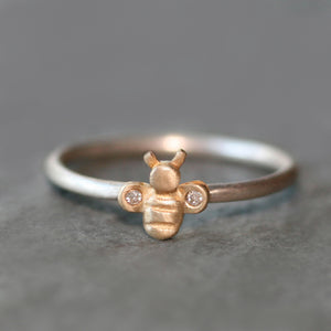 Bee Ring in 14K Gold and Diamonds with Sterling Silver Band rings,animal bee-ring-in-14k-gold-and-diamonds-with-sterling-silver-band 4 / 14K Yellow,4 / 14K Rose,4.5 / 14K Yellow,4.5 / 14K Rose,5 / 14K Yellow,5 / 14K Rose,5.5 / 14K Yellow,5.5 / 14K Rose,6 / 14K Yellow,6 / 14K Rose,6.5 / 14K Yellow,6.5 / 14K Rose,7 / 14K Yellow,7 / 14K Rose,7.5 / 14K Yellow,7.5 / 14K Rose,8 / 14K Yellow,8 / 14K Rose,8.5 / 14K Yellow,8.5 / 14K Rose,9 / 14K Yellow,9 / 14K Rose,9.5 / 14K Yellow,9.5 / 14K Rose,3 / 14K Yellow,3 /