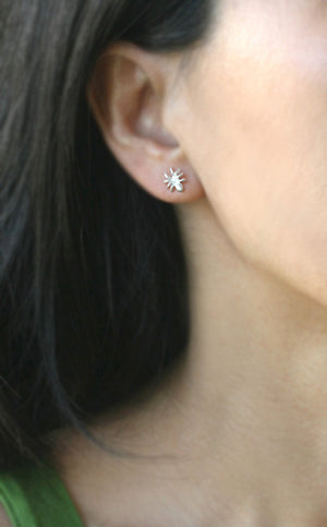 Tiny Spider Earrings in Sterling Silver with Diamonds