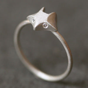 Fox Ring in Sterling Silver with Diamonds animal,rings fox-ring-in-sterling-silver-with-diamonds 4,4.5,5,5.5,6,6.5,7,7.5,8,8.5,9