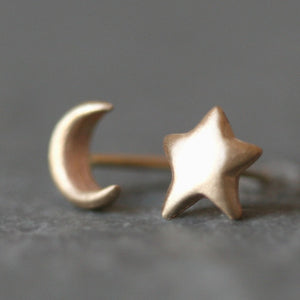 Moon and Star Stud Earrings in 14k Gold symbols,earrings moon-and-star-stud-earrings-in-14k-gold 14K Yellow,14K Pink,14K White