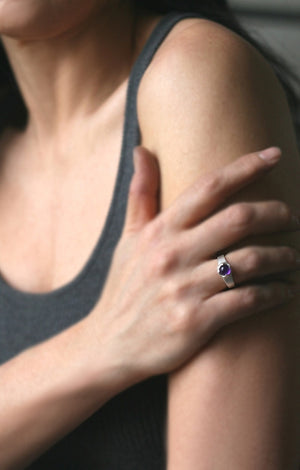 Banded Cab Ring in Sterling Silver with Amethyst