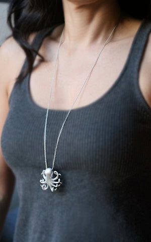 "Long Octopus Necklace in Sterling Silver ocean,necklaces,animal long-octopus-necklace-in-sterling-silver 28"",30"",32"""