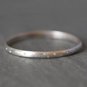 Diamond Studded Bangle in Sterling Silver