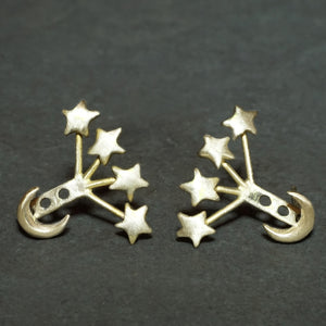 Small Moon and Tiny Star Ear Jacket in Brass