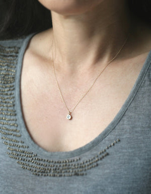 Button Drop Heart Diamond Necklace in 14k Gold