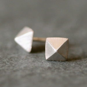 Low Pyramid Stud Earrings in Sterling Silver earrings,geometric,nuts, bolts, studs low-pyramid-stud-earrings-in-sterling-silver Default Title