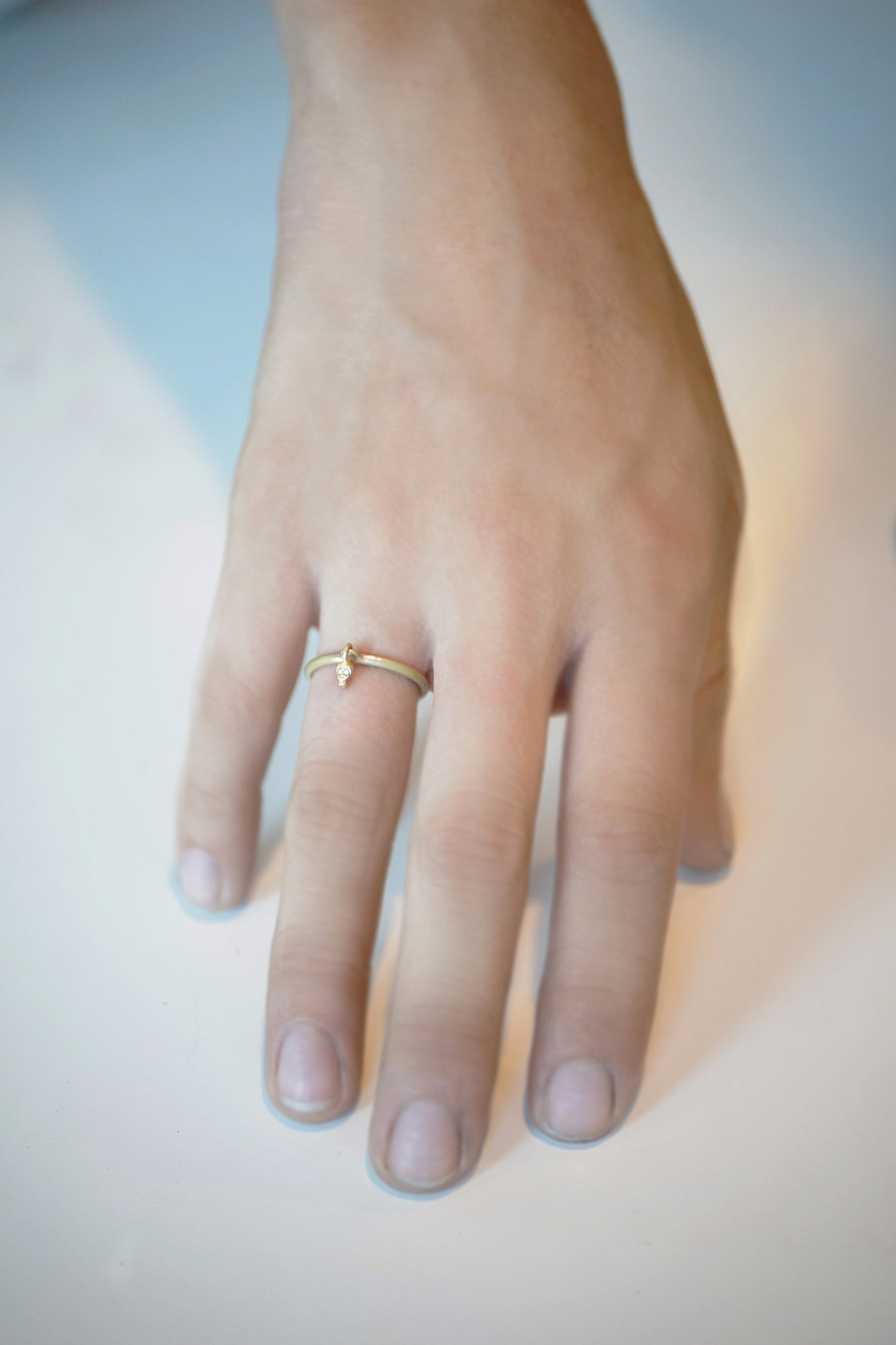Mini Skull Charm Dangle Ring in 10K Gold and 14K Gold with Diamonds ...
