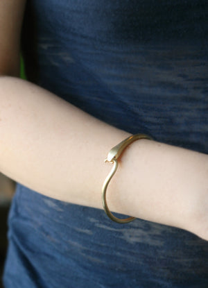 Snake Tail Bangle in Brass with Rubies