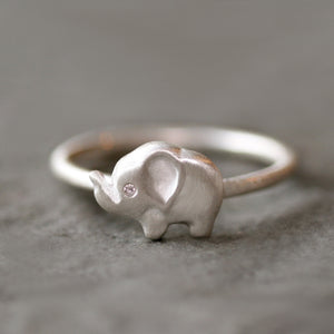 Side Elephant Ring in Sterling Silver with Diamond Eye animal,rings side-elephant-ring-in-sterling-silver-with-diamond-eye 4,4.5,5,5.5,6,6.5,7,7.5,8,8.5,9