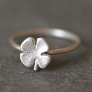 Small Four Leaf Clover Ring in Sterling Silver symbols,Luck for Sale,rings small-four-leaf-clover-ring-in-sterling-silver 4,4.5,5,5.5,6,6.5,7,7.5,8,8.5,9,9.5