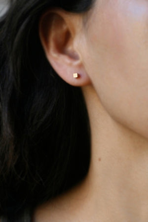Tiny Cube Stud Earrings in 14k Gold