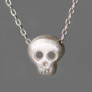 "Baby Skull Necklace in Sterling Silver skulls,necklaces,HALLOWEEN baby-skull-necklace-in-sterling-silver 16"",17"",18"""
