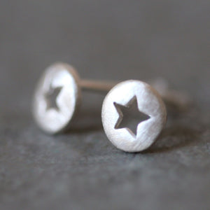 Star Cutout Stud Earrings in Sterling Silver earrings,symbols star-cutout-stud-earrings-in-sterling-silver Default Title