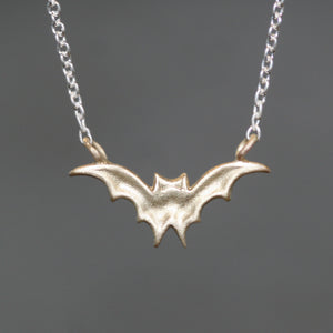 "Bat Necklace in 10K Gold and Sterling Silver necklaces,HALLOWEEN,animal bat-necklace-in-10k-gold-and-sterling-silver 16"",17"",18"""