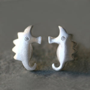 Small Seahorse Earrings in Sterling Silver with Diamonds