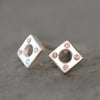 Square Stud Earrings Sterling Silver with Diamonds