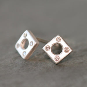 Square Stud Earrings Sterling Silver with Diamonds nuts, bolts, studs,earrings square-stud-earrings-sterling-silver-with-diamonds Default Title